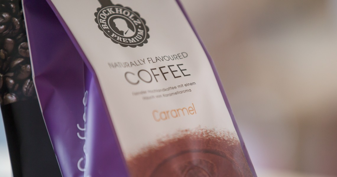Seitenfaltenbeutel matt einer Kaffeerösterei